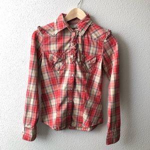 Guess Western Shirt W/ Ruffled Shoulder & Placket